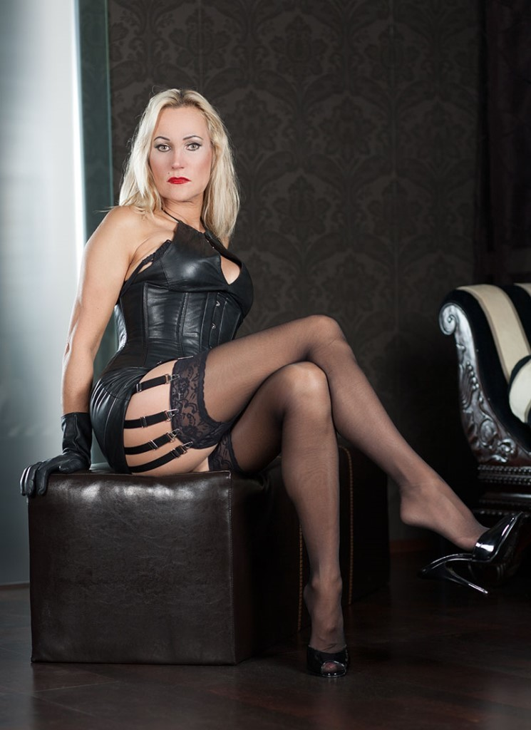 Milf leather lingerie heels join