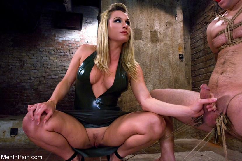 Busty woman making a man beg